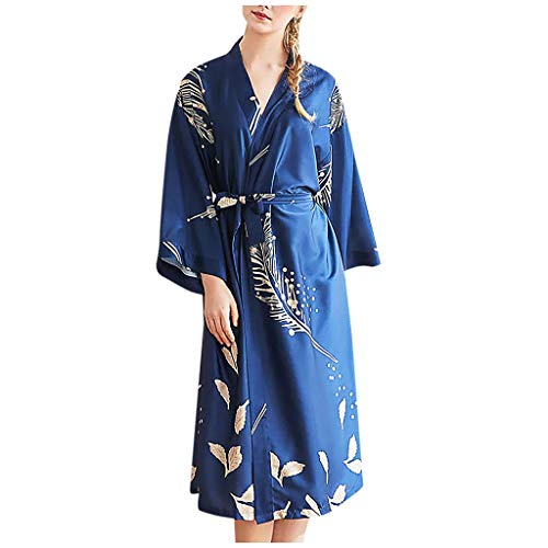 Dasongff dames ochtendjas lang zijde satijn kimono jurk bloemenkersenpatroon kimono badjas dames lange robe bloemen slaapjas meisje pajama party X-Large blauw