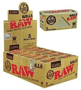 RAW Classic Slim-Box mit 24 Rolls a 5 m, Papier, gelb, M