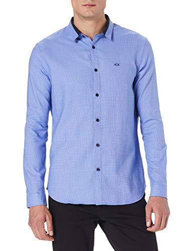 ARMANI EXCHANGE Yarn Dye Cotton Blue Dobby Shirt Camicia, M Uomo