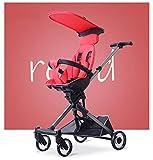 JKNMRL Plegable Kid Car   Carro liviano con Visera extraíble y reposabrazos Desmontable (Multicolor Opcional),Rojo