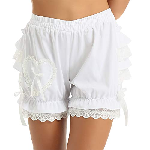 YiZYiF Women's Ruffle Panties Dance Bloomer Lace Lingerie Sissy Frilly Knickers Pettipants Ruffle White Large