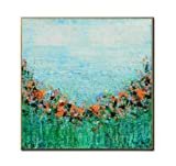 BO LAI DE Cuadros abstractos al óleo 100% pintados a mano sin marco, color verde, arte de pared para el hogar o el salón, 100 cm x 100 cm