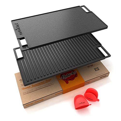 NutriChef Cast Iron Reversible Grill Plate - 18 Inch Flat Cast Iron Skillet Griddle Pan For Stove Top, Gas Range Grilling Pan w/ Silicone Oven Mitt For Electric Stovetop, Ceramic, Induction.