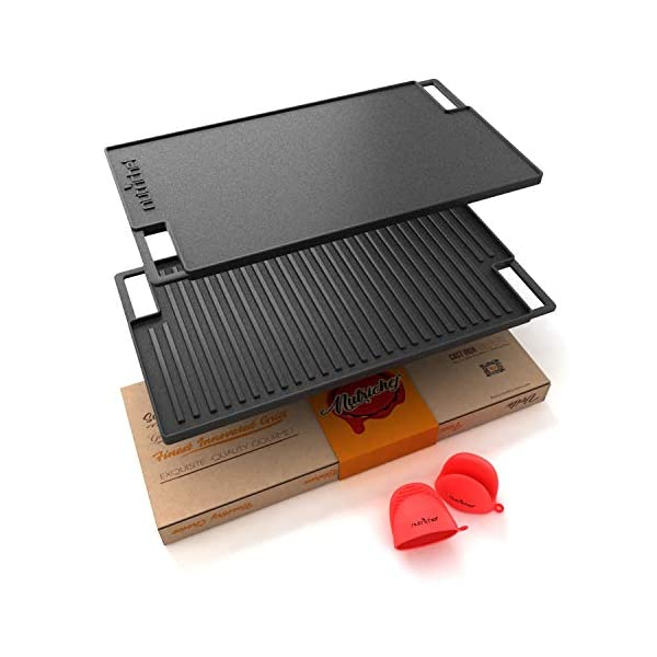 NutriChef Cast Iron Reversible Grill Plate – 18 Inch Flat Cast Iron Skillet...