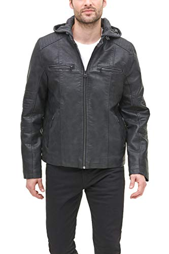 Levi's Men's Buffed Cow Faux Leather Hooded Racer, Black, Large