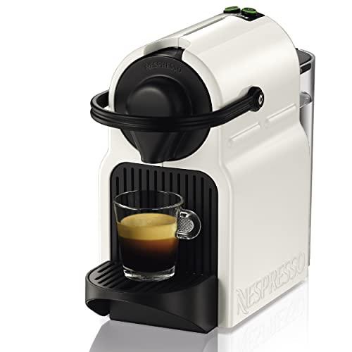 Krups Nespresso Inissia XN1001 - Cafetera monodosis de cápsulas Nespresso, 19 bares, apagado automático, color blanco, Pack cápsulas bienvenida incluido