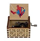 AOMOKC Boîte à Musique en Bois Spiderman Jouet pour Enfants Cadeau d'anniversaire Halloween Cadeau de noël boîte à Musique à manivelle en Bois