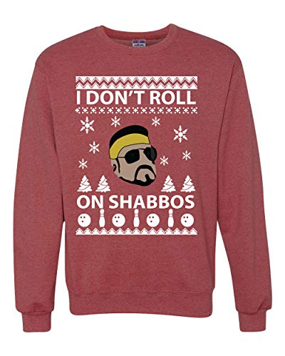 I Don't Roll on Shabbos Funny Walter Quote Big Lebowski  Ugly Christmas Sweater Unisex Crewneck Graphic Sweatshirt, Vintage Heather Red, X-Large