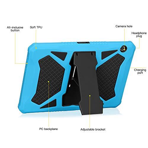 Eastcoo Schutzhülle für Huawei MediaPad T5 10,1-Schicht weiches TPU, robuster und harter PC-Ständer Ständer Stoßfester Beweis Hybrid Heavy Duty Silikonhülle für Kinder (Blau &Schwarz)