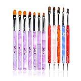 ANGNYA 12pcs Set di pennelli per unghie, Nail Art Design Polacco Brush Pen, Nylon UV Gel Pittura Strumento unghie Pennello Stampa Decorazione Kit DIY