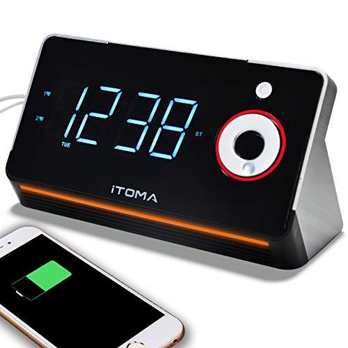 Reloj despertador, radio FM digital, alarma dual con repetición, carga USB, control de intensidad, temporizador de radio, entrada auxiliar, batería de respaldo, de iToma. CKS709 CKS709.