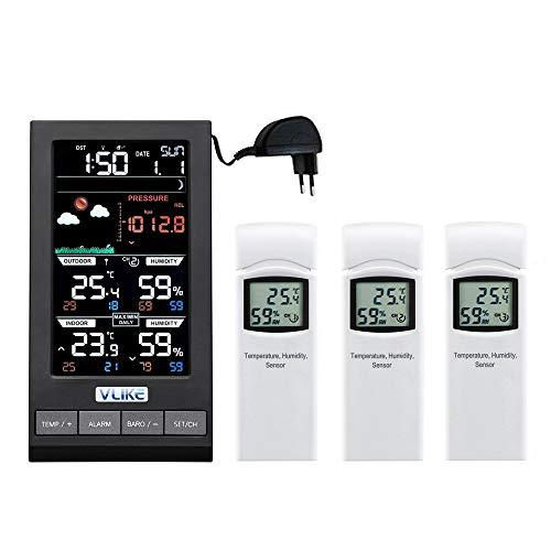 VLIKE Estación meteorológica de Color con Sensor Exterior (1 Console / 3 remotes)