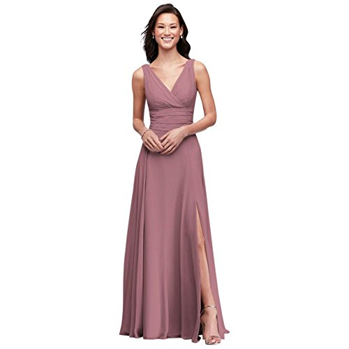 David's Bridal Surplice Tank Long Chiffon Bridesmaid Dress Style F19831, Quartz, 12