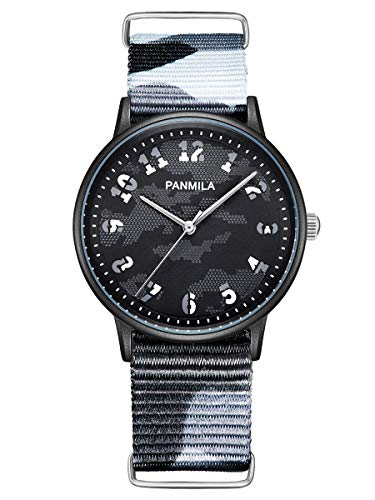 Alienwork Herren Damen Armbanduhr Quarz schwarz mit NATO-Armband Militär Tarnung NATO-Band Ultra-flach Slim-Uhr
