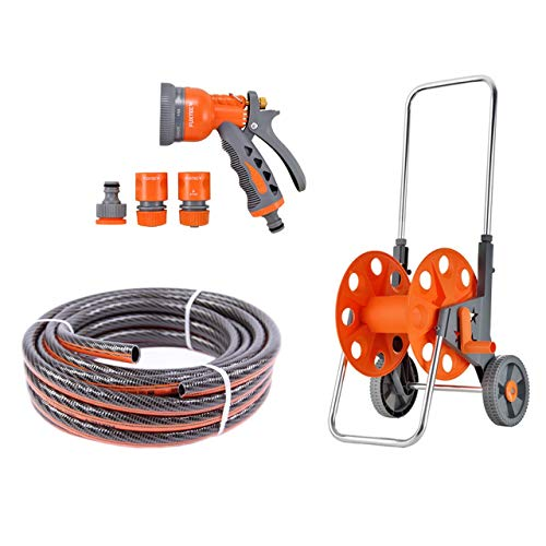 Fuxtec Gartenschlauch (50m) Set FX-WW-SET1 – Flexibler Wasserschlauch inklusive Schlauchwagen/Schlauchtrommel, Gartenbrause & Schlauchkupplung