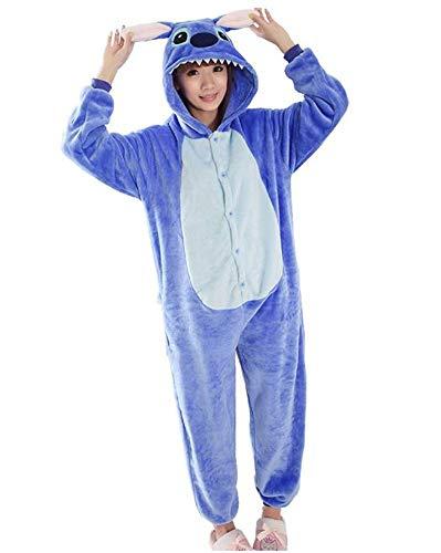 Kostüm für Erwachsene Kigurumi Pyjamas Animal Kostuem Halloween Karneval Show Party Weihnachten Cosplay Jumpsuit Kostume Onesie Unisex Winter Unterwäsche Frauen Männer (S, Stitch Blau)