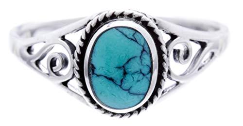 WINDALF Bohemia Silberring Damen LUCY h: 0.9 cm Elfen Ring mit Türkis Glücks- & Freundschaftsring Vintage Hochwertiges Silber (Silber, 62 (19.7))