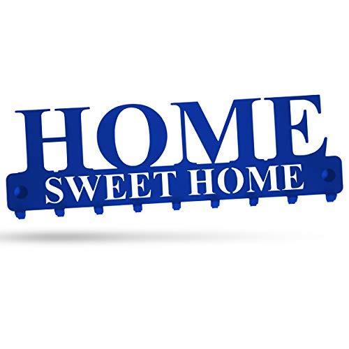 """tradeNX """"Home Sweet Home Wand Schlüsselboard mit 9 Haken aus Stahl in Blau – Wandhalterung für Jacken, Schlüssel oder Handtücher – Montagematerial inklusive"""
