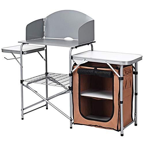 NNDQ Mobiler Camping-Küchentisch mit unterer Ablagefläche und zusammenklappbarer Aluminium-Kochstation für Grillen, Feiern, Camping, Picknicks