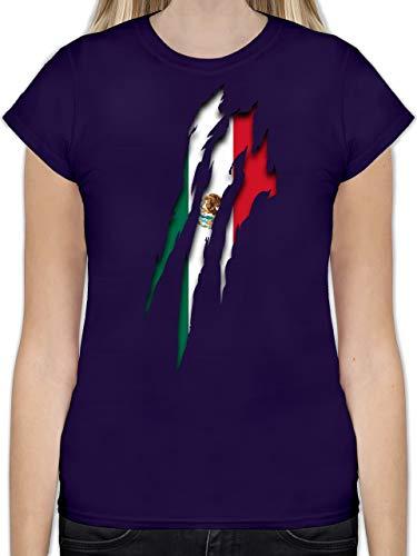 Fußball-Europameisterschaft 2020 - Mexico Krallenspuren - S - Lila - L191 - Tailliertes Tshirt für Damen und Frauen T-Shirt