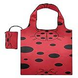Cute Handbags Black Red Dot Ladybug Canvas Large Tote Bag Bolsa de lona linda Bolsas de compras reutilizables de poliéster, lavables, duraderas y ligeras