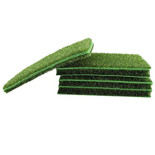 Césped artificial / tapete / césped artificial exterior falso césped verde de alta densidad realista jardín alfombra de césped, 10 unidades, 15 x 15 cm, verde