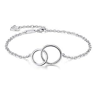 Kreis Armband Damen 925 Sterling Silber - Größenverstellbar - ter Schwester Freund Muttertag Weihnachten Geburtstag Geschenk