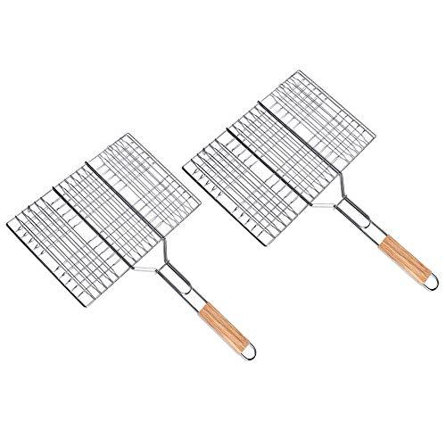 Schramm 2 Stück Grillkorb Basket Barbecue Korb 35x24cm Fischgrillkorb Fischbräter Grillbesteck Grill Gemüsekorb Grillrost