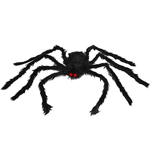 Ragno gigante da 50 pollici, ragno peloso di Halloween Spaventoso falso grande ragno per decorazioni esterne Decorazioni da cortile Decorazioni spaventose spider di peluche (50 pollici Black Spider)