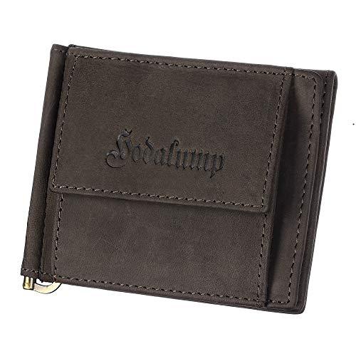 Hodalump Geldbörse mit Geldklammer aus Echt-Leder mit Geldspanne Vintaeg Hunter Look