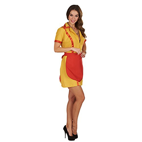 Elbenwald Diner Girl Kostüm Max und Caroline Kleid mit Schürze zur Serie Damen rot gelb - 32/34