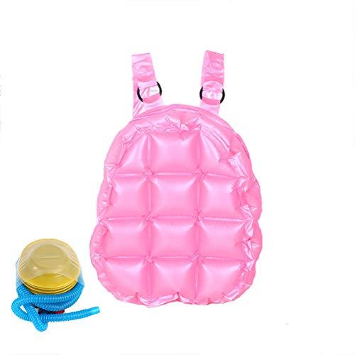 Wanforjewellery Kinder aufblasbarer Rucksack, wasserdichte PVC-Strandtasche aufblasbare Schulumhängetasche,pink