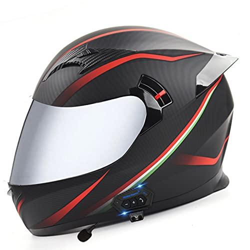 ZLYJ Casco De Motocicleta con Bluetooth Integrado Casco De Motocicleta Modular Abatible con Visera Doble para Respuesta Automática Casco De Choque Aprobado por ECE E,XL(61-62cm)