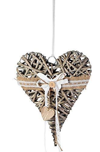 dekojohnson Fensterdeko zum aufhängen Rattan-Herz Fensterdekoration Türkranz hängend Landhausstil Herz-Hänger grau 25cm groß Schmetterling