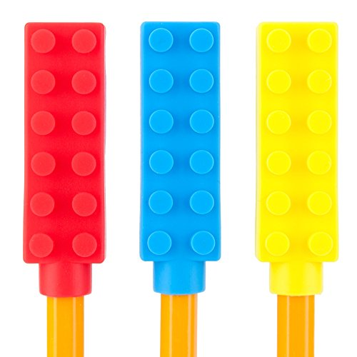 Chew Brick Chewable Pencil Toppers - 3-Pack - Chewy Sensory Aid for Autism & Oral Motor Special Needs Kids - Chewing Topper Helps Girls & Boys with Biting Teething by Solace (Mild, Chewy)