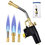 SEAAN Propane MAPP Torch with 3 Tips Gas Trigger-Start Torch/Self-Lighting Swirl Style, Swirl Flame Tip for all Soldering and Brazing Applications