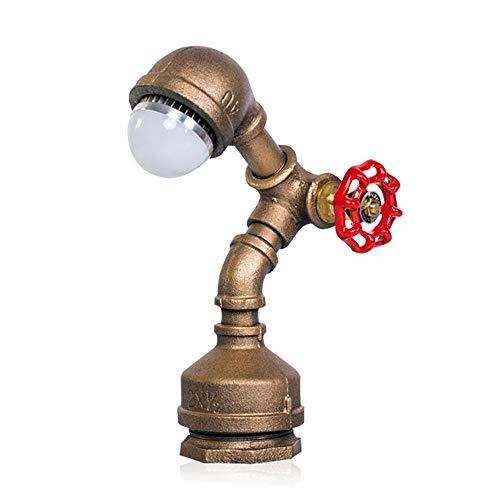 Lámpara de mesa lámpara de tubo de agua, lámpara de mesa retro de loft americano, lámpara de lectura LED