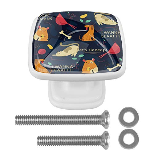 Perilla cuadrada de hardware de gabinete Blanco Gato Perro Pollo Perillas de vidrio de colores para tocador con tornillos de montaje, 4 paquetes 3x2.1x2 cm