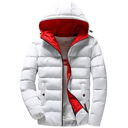 Riou Herren Leicht Steppjacke Einfarbig Reißverschluss Pocket Hooded Daunenjacke Hochwertig Kapuzenjacke Baumwolle Mantel