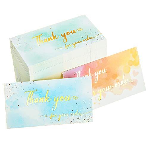300 Piezas Tarjetas de Thank You For Your Order Tarjetas de Agradecimiento de Soporte de Clientes para Pequeñas Empresas de Soporte de Acuarela Tarjetas de Agradecimiento con Lámina de Oro