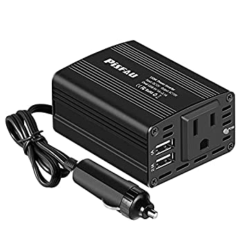 150W Power Inverter 12V DC to 110V AC Car Plug Adapter Outlet Converter with 3.1A Dual USB AC car Charger for Laptop Computer