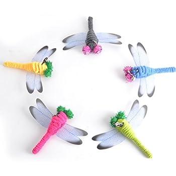 Ueetek cartouche de rechange Cat plumes jouet Baguettes Libellule pour chat d'intérieur jouer Jouets 5pcs
