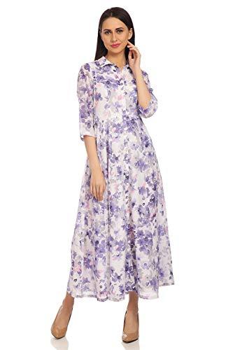 BIBA Women's Synthetic Bubble Hem Knee-Long Dress (Dresses 14870_White/Blue_S (32))