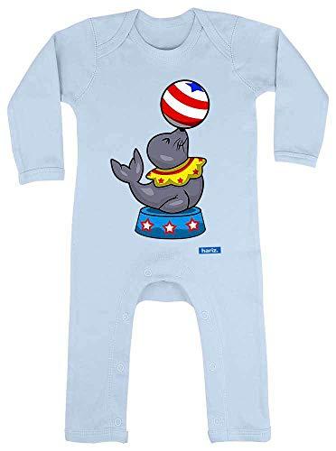 Hariz Pijama para bebé, diseño de león marino, circo, animales, guardería, tarjetas de regalo azul Dosel azul claro. Talla:12-18 meses
