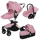 Carrozzine Passeggino 3 in 1 Triciclo Girello Passeggino alto Paesaggio Passeggini pieghevoli Carrello per bambini Carrozzina per bambini 0-36 mesi (Pink)