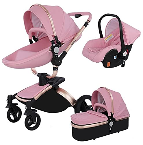 Baby Stroller 3 in 1 Tricycle Baby Walker High Landscape Stroller Folding Strollers Baby Trolley Baby Pram for Baby 0-36 Months (Pink)