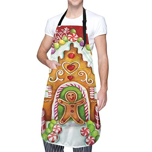 MOLIAN Gingerbread Christmas Kitchen Apron with 2 Pockets Home Gardening BBQ Grill Chef Cooking Aprons for Women Men - Gifts