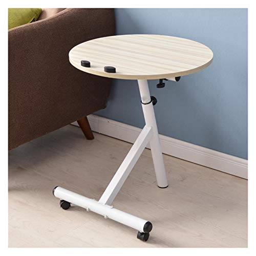Modern Movable Lift Desk Angle And Height Adjustable Tea Table Round Bed Sofa Side Table Desk With Locking Universal Wheels Portable Side Table (Color : 1)