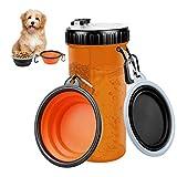 Bottiglia Acqua per Cani Portatile 420ml, 2 in 1 Borraccia per Animali Domestici e Contenitore per Alimenti, Pet per Bere all'aperto Tazza con 2 Pieghevole Ciotola per Cani (Arancione)