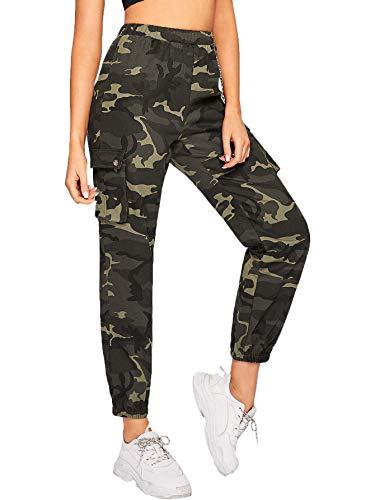 SOLY HUX Damen Sport Sweatshose Camouflage Hosen mit Seiten Taschen Kette Laufhose Bunt Capris Jogger Pants Farbe #2 M